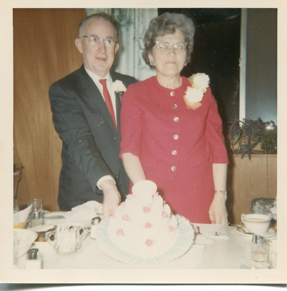 1966 April Francis and Alice VanDeventer at Bowen's Diner for Anniversary