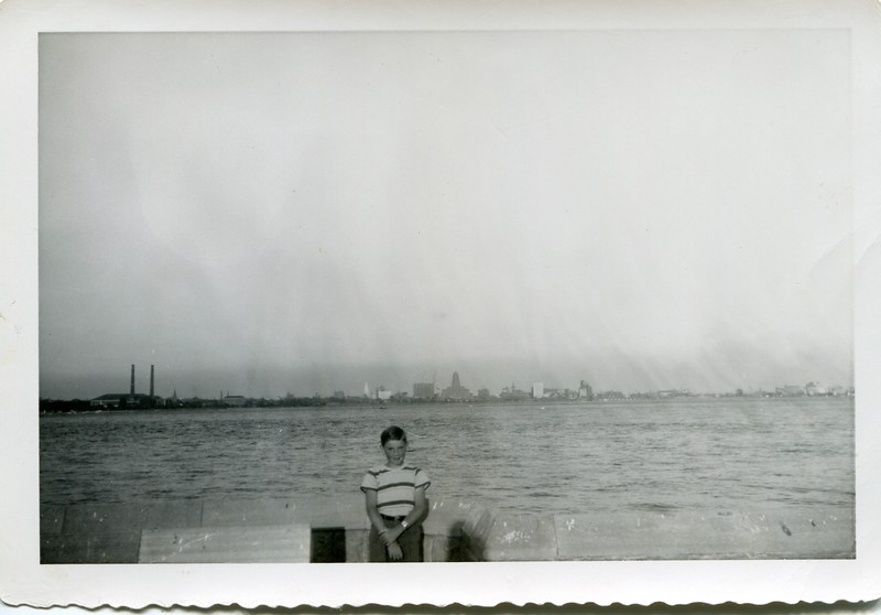 1951 Robert VanDeventer in Canada with Buffalo NY in background