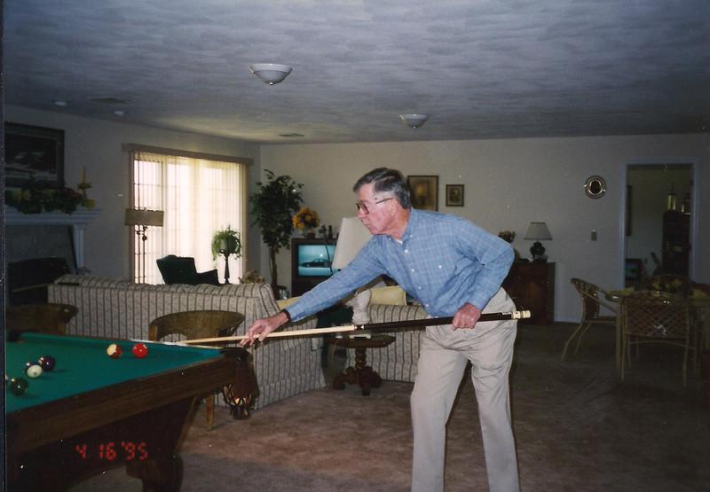 Bill playing pool