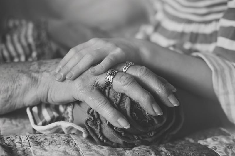 Grammie Ruby hands bw