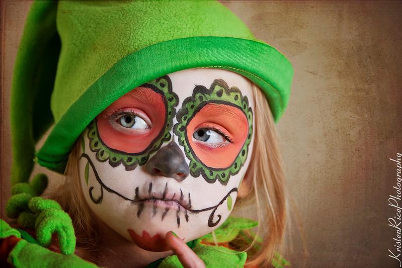 Halloween Sugar Skull Pumpkin Face Paint Girl
