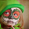 Halloween Sugar Skull Pumpkin Face Paint Girl