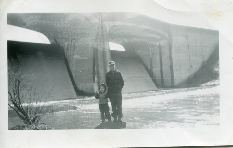 1949 Marlene and Uncle Slim below bridge at state park