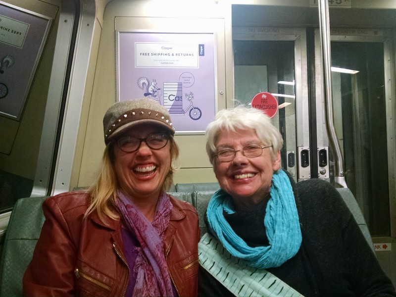mom and jenny on BART