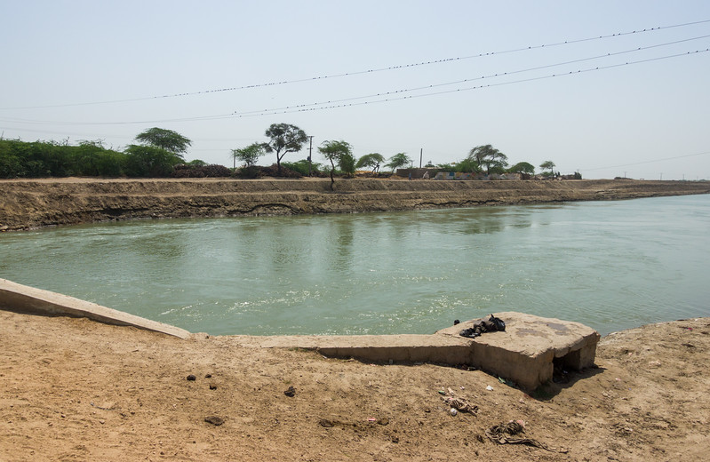 Tributary of the Indus River where townspeople swim. My grandfather shared stories of swimming in the river and this is likely the same location that he spoke of.