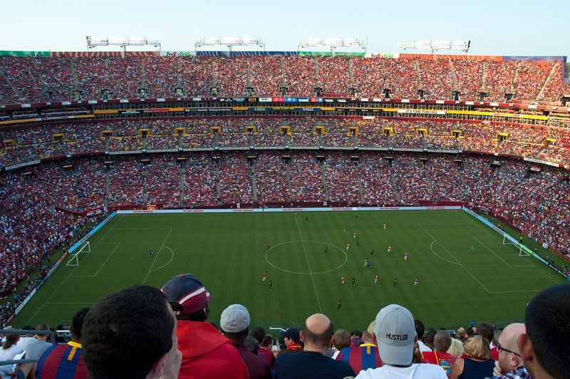 FC Barcelona vs. Manchester United FC at Redskins' home field. 81,807 people with 82,000 capacity.