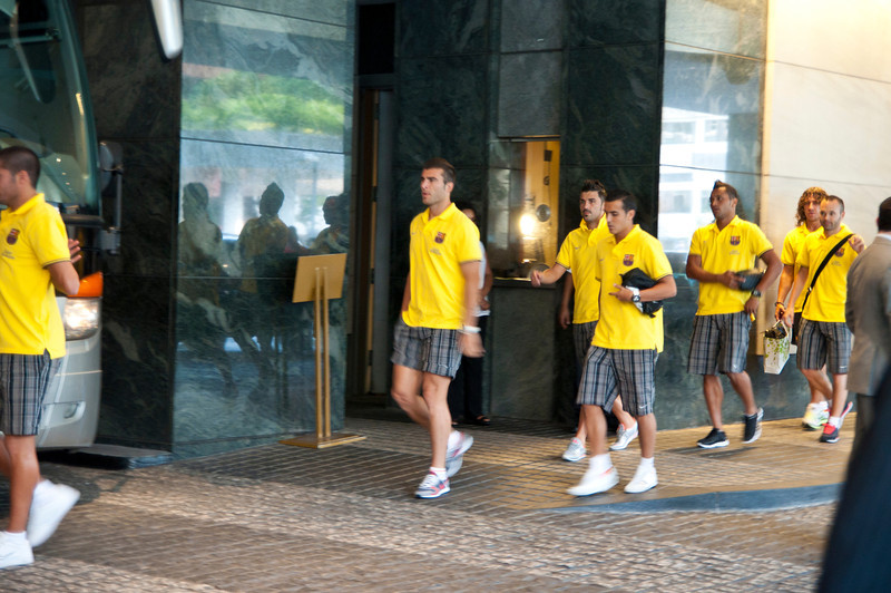 FC Barcelona going to practice.