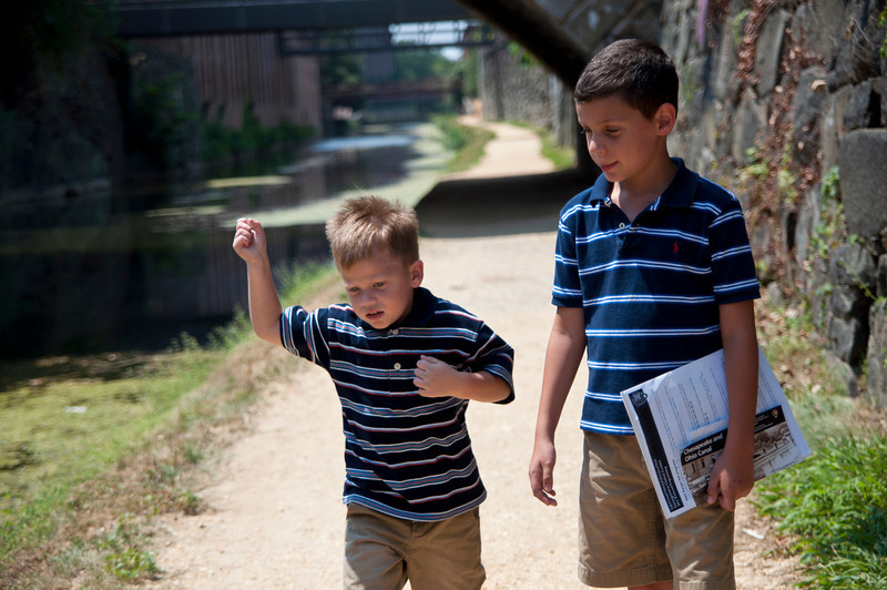 Evan was running along by the canal.
