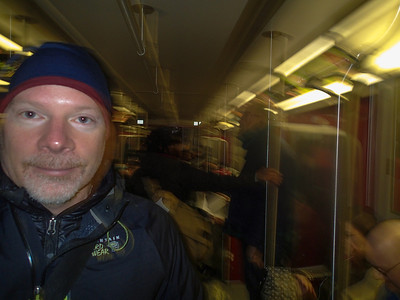 Me on the subway. photo by Machelle Andrews