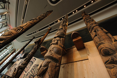 Totem poles in the great hall, museum of civilization, hull