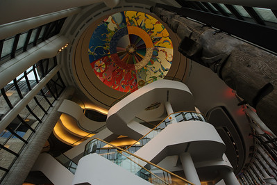 Ceiling, stairs and totem, great hall, museum of civilization