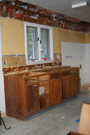 Day Fifteeen:  North wall Sink & Counter top removed.