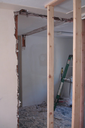 Day Nine:  Livingroom/Hallway door frame removed.