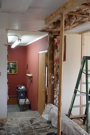 Day Ten:  Kitchen/Stair-hallway doorframe removed.