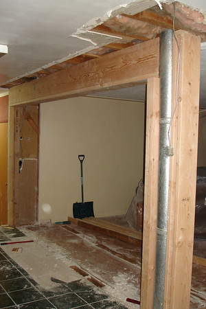Day Ten:  Support Beam & Post Put in and temporary support wall removed!