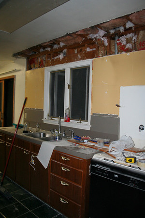 "Day Three:  Removal of North Wall Over-Cabinet ""soffit"" thing."