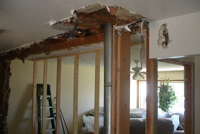 Days Six through Eight:  Supports put in place for floor (in basement) & portion of ceiling. (upstairs)