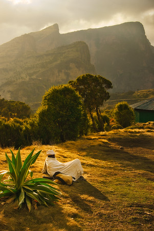 Ethiopian Guard Resting Under the Mountains