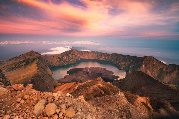 The Mount Rinjani Crater