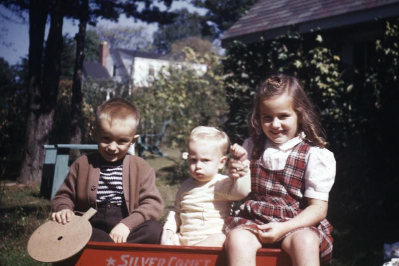 Bobby, Steve, Lani in Grandmother Boyd's Backyard
