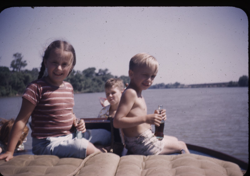On Uncle Dick's Cabin Cruiser, the Ambler. Robbie in Background. (1949)