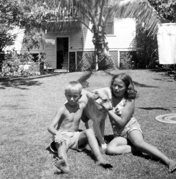 Bobby, Tawney, & Lani in Our Backyard on Punchbowl in Honolulu