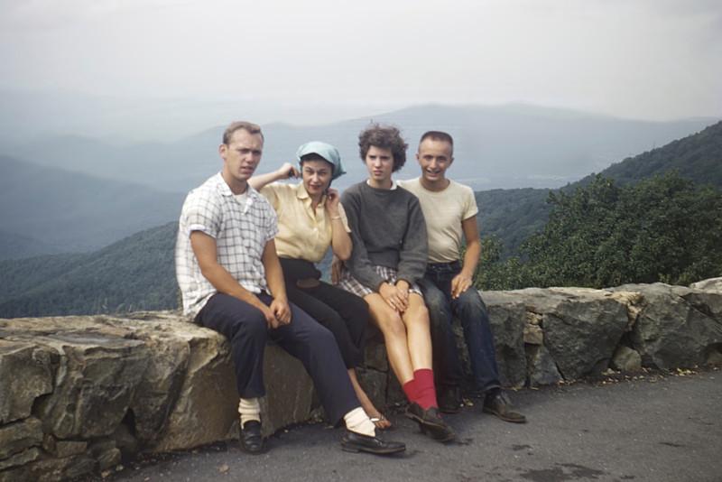 Emmett, Mother, Judy Wearne & Bob on Blue Ridge Mt camping trip in the summer of 1958.