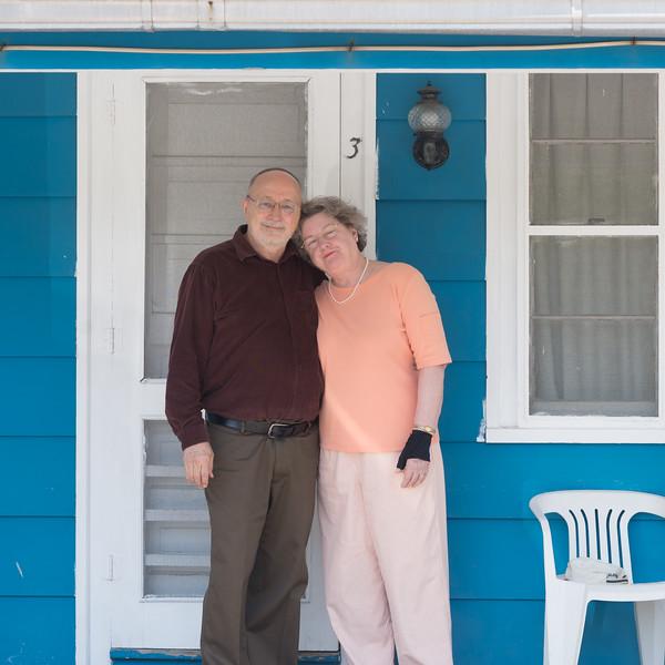Bob & Nancy in front of Motel We Stayed in in 1965