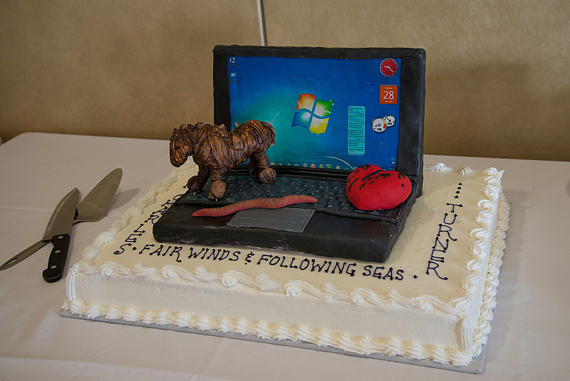 Retirement  Cake with Trojan Horse, a Worm, & the Bleeding Heart Virus