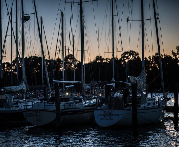 The Hartge Yacht Harbor at Galesville, Maryland at Twilight