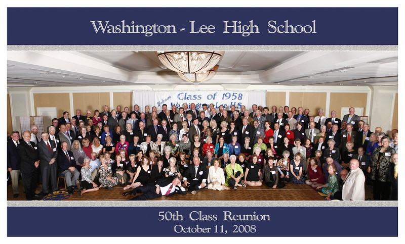 50th Class Reunion. Judy Photoshopped in the Missing & Identified Everybody.