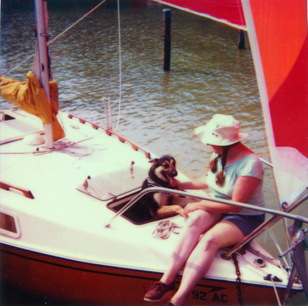 Judy and Shadow on her Boat. Date Unnkown.
