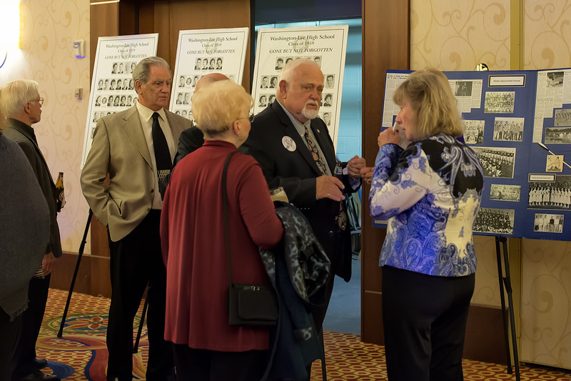 Conversation in front of Carol Brockway Wootton's much loved posters. Guy Guthridge, Clyde Maghan, Lee Havener, and Judy Beers Trelogan.