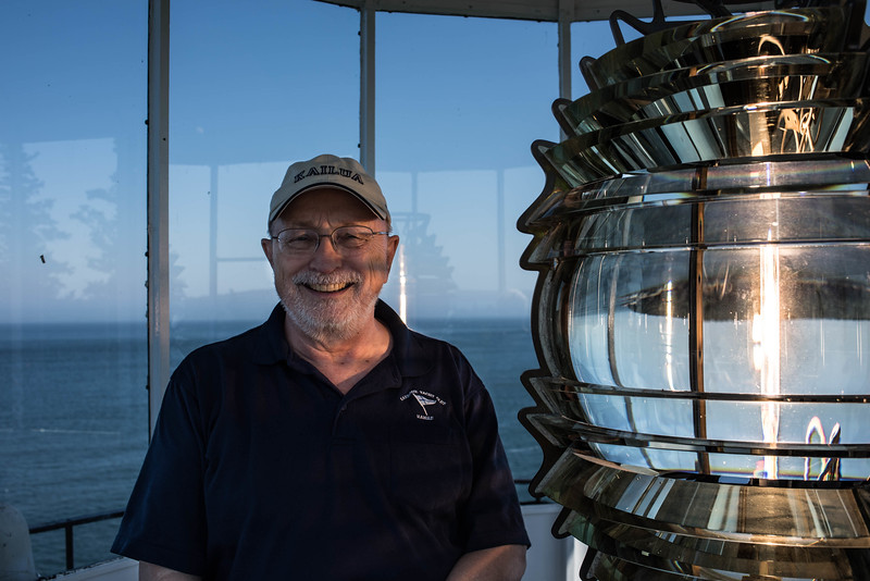 Bob & the 4th Order Fresnel Lens from 1856 at the Owls Head Lighthouse