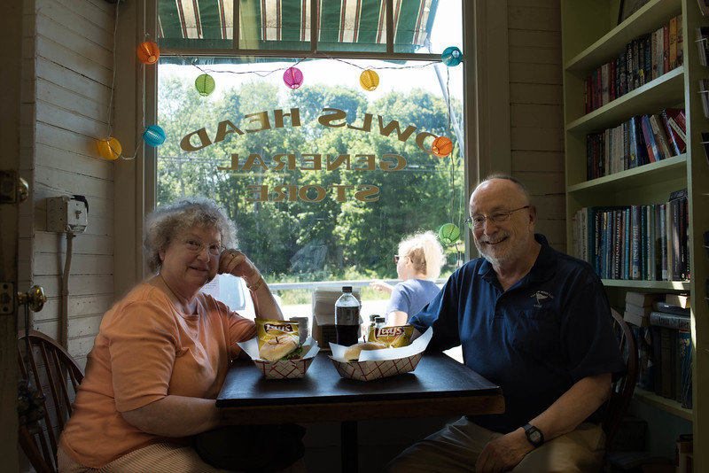 Nancy & Bob at the Owls Head General Store ... Home of the Best Hamburger in Maine. And We Agree!