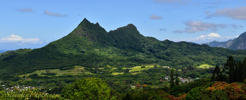 1,600' Tall Olomana Viewed from the Pali Highway