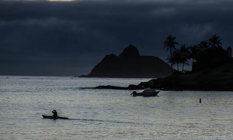 Separate Solitudes - VI    A Kayaker Passes Mokulia Nui & Lanikai Point