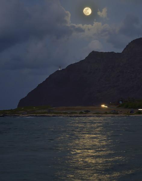 Full Moon Over Makapuu Lighthouse June 3, 2012