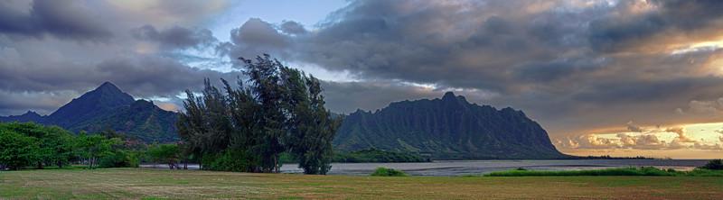 Pali from Waiahole Park at Sunrise