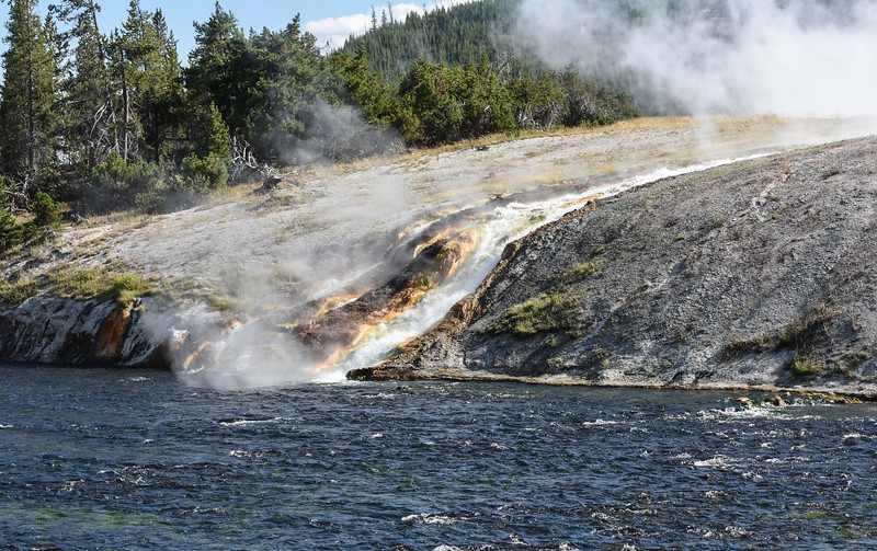 Midway Geyser Fountain Outflow into the Firehole River