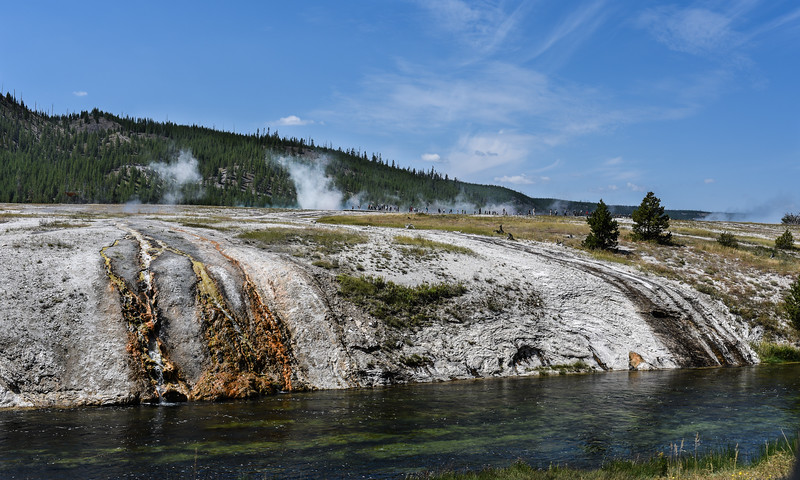 Midway Geyser Outlow into the Firehole River