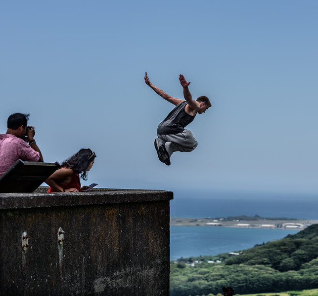 Leaping Youth at Pali Overlook (He Landed Safely Just Below the Image Frame)