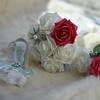 Wedding Flowers; Roses; Fur; Garter;