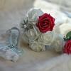 Wedding Flowers; Roses; Fur; Garter;