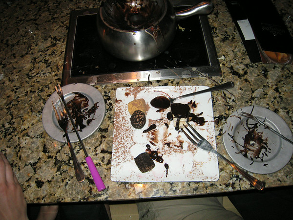 My food asploded. Who knew chocolate Fondu was sooo freakin' good?