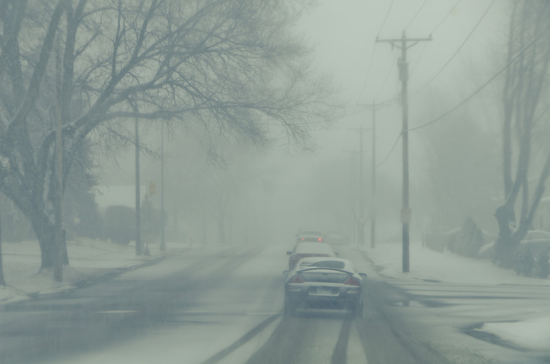 Almost Blizzard<br /> It would be easier to look for moving vehicles, if drivers turned their lights on.
