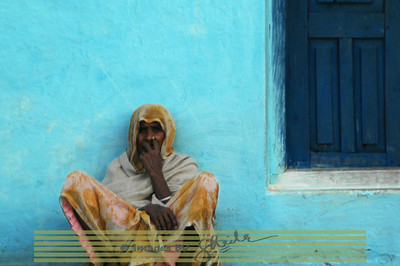 Man in the blue door, India