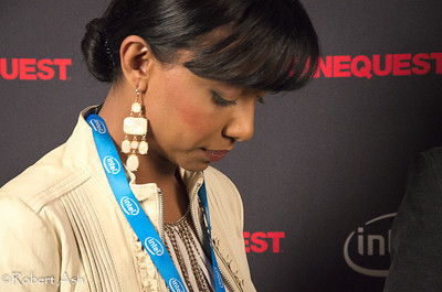"Kalista Zackhariyas, star of ""Snow"", taking a quick break before her Red Carpet interview.  ""Snow"", being shown at Cinequest Film Festival 2011, is a touching film about a Sri Lankan woman who lost everything in the great tsunami, moved to Halifax, Nova Scotia, Canada to rebuild her life. Kalista is an accomplished martial artist and performs her own stunts in movies she performs in. She has also appeared in commercials for high end and couture products."