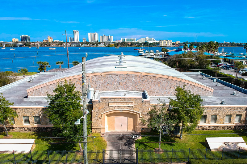 Aerial photograph of the frontside of the Daytona Beach Armory