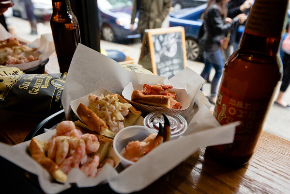2 half lobster rolls, 2 half crab rolls, 2 half shrimp rolls, 2 pairs Empress crab claws, 2 sodas